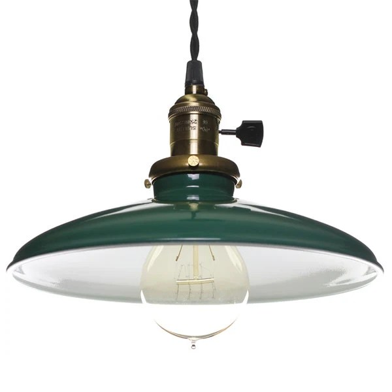 Vintage Industrial Green Enameled Pendant Light w/10