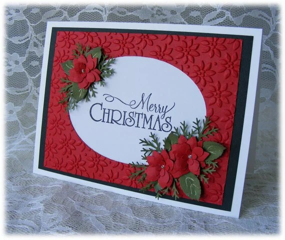 Handmade MERRY CHRISTMAS Card with stunning red 3D poinsettias - nuts4mccoy