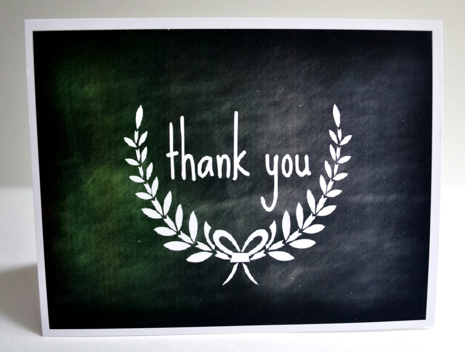 Thank You Notecards-Chalkboard Laurel Wreath-Set of 8