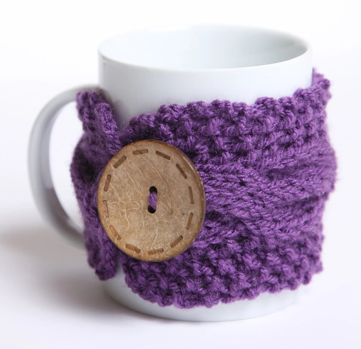 Knitted mug cozy, tea cup cozy,  coffee sleeve, purple, warmer
