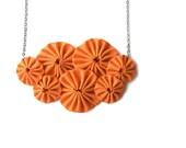 Fabric necklace yoyo bib statement piece in orange halloween jewelry - violasboutique