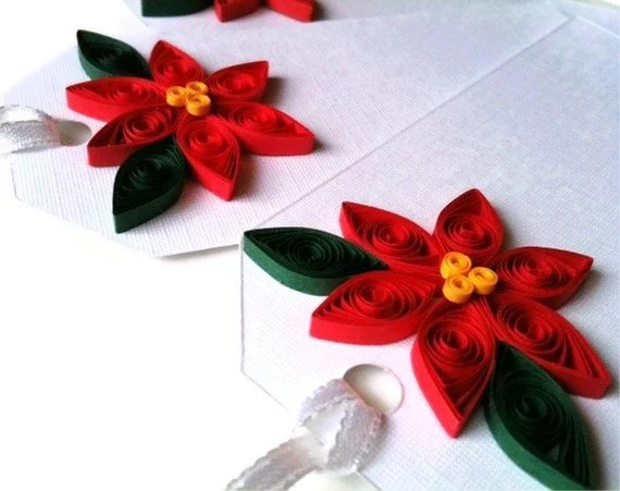 Poinsettia Gift Tags for Christmas in Bright Holiday Red - CIJ Christmas in July - WintergreenDesign