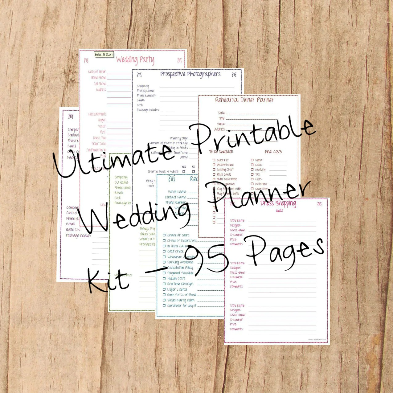 Wedding Planner Printable Wedding Planner Kit 95 Pages