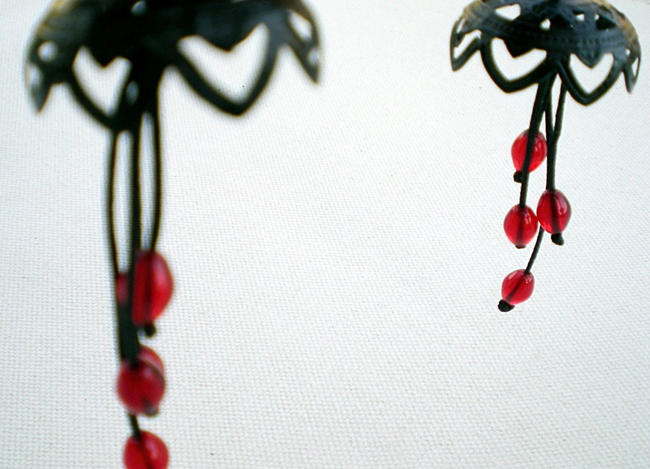 Black and red dangle earrings- jellyfish-  filigree and glass- under 25 - zdrop