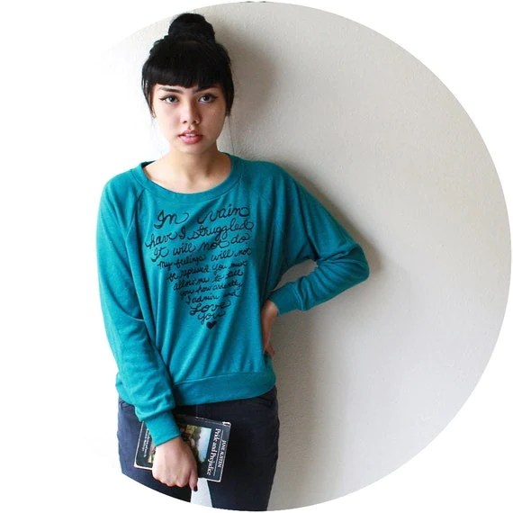 Mr. Darcy's Proposal/Pride and Prejudice. SMALL Women's Slouchy Pullover in Evergreen