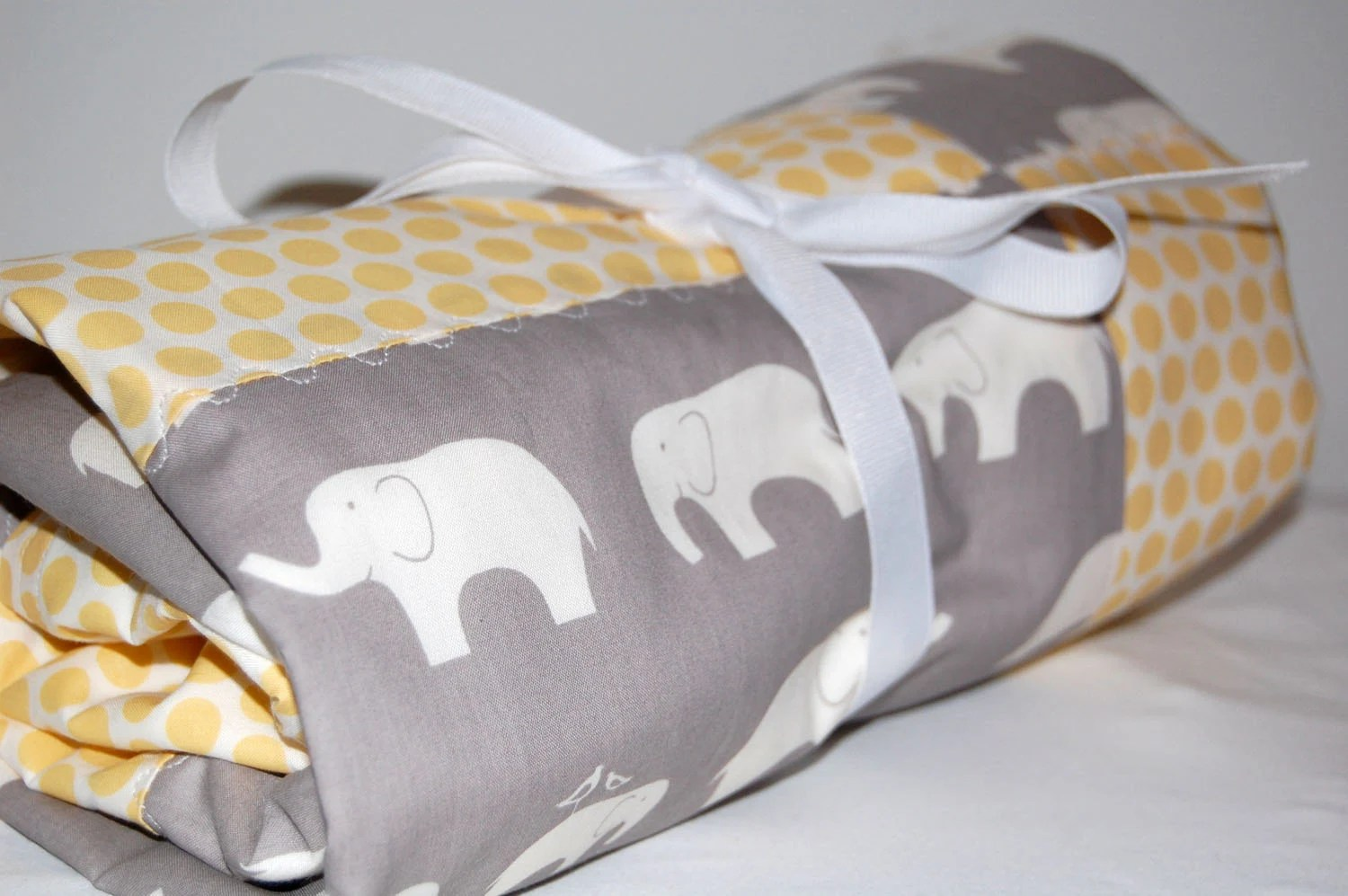 ORGANIC modern patchwork baby blanket- elephants and dots- ready to ship