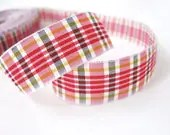 "Red Plaid Grosgrain Ribbon 3/4"" - 3 yards black and red plaids print ribbon - AnnyMayCraftSupplies"