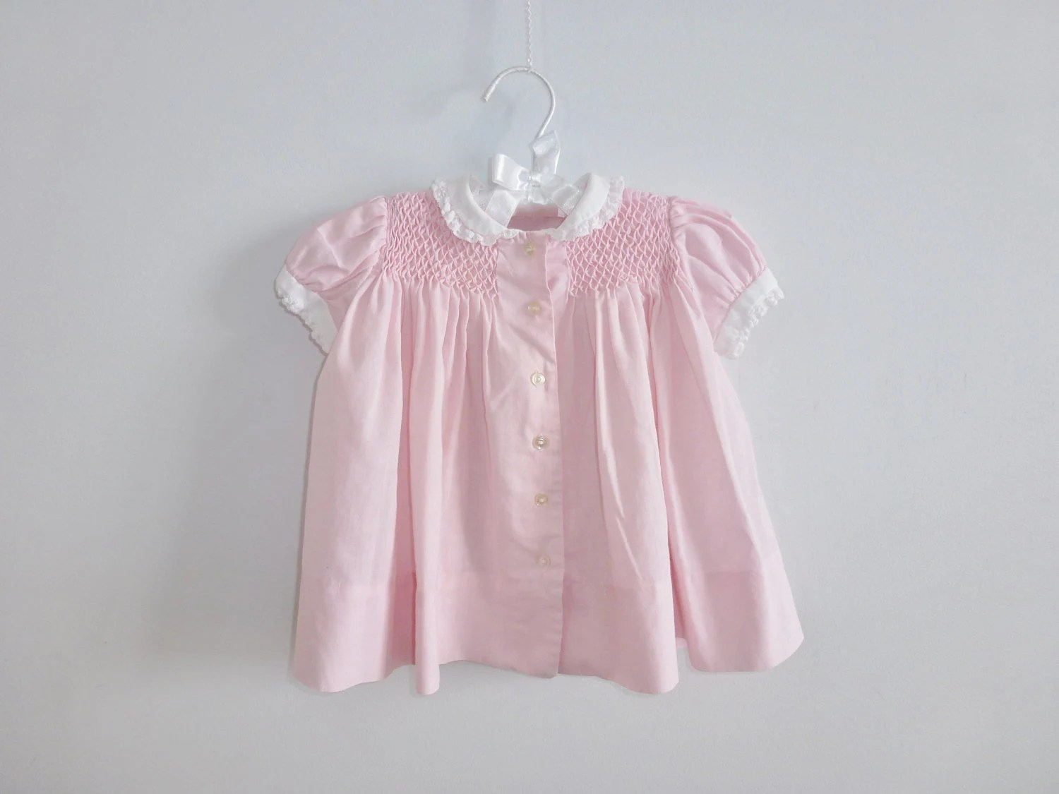Vintage Soft Pink Smocked Baby Dress - Apearsvintagegoodies