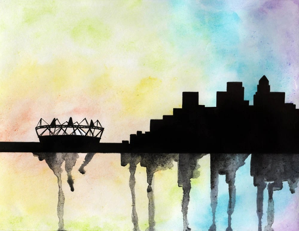 London 2012 Olympic stadium and Canary Wharf Skyline Watercolour Original