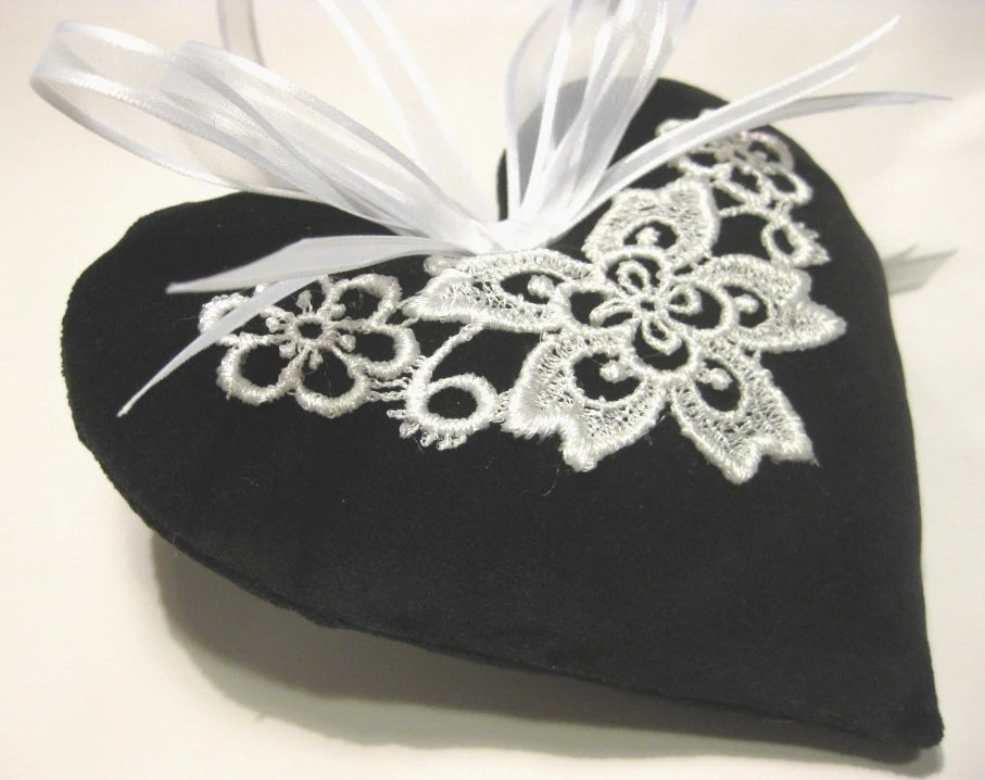 Lavender Sachet Heart in Black Velvet with Lace Applique - RebeccasHearts