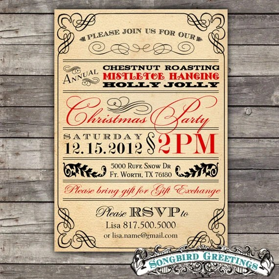 DIY vintage Christmas party invitation--customizable