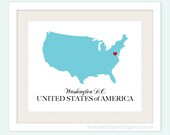 USA Country Love Map Silhouette 8x10 Print - Customized - AsYouWishPrinting