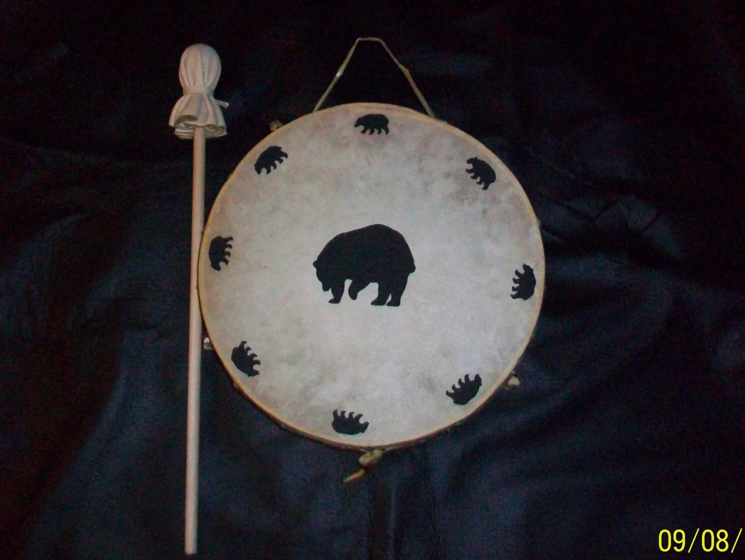 Spirit Of The Bear Hand Drum -with Bear Claws and Knuckle Bones - Native American