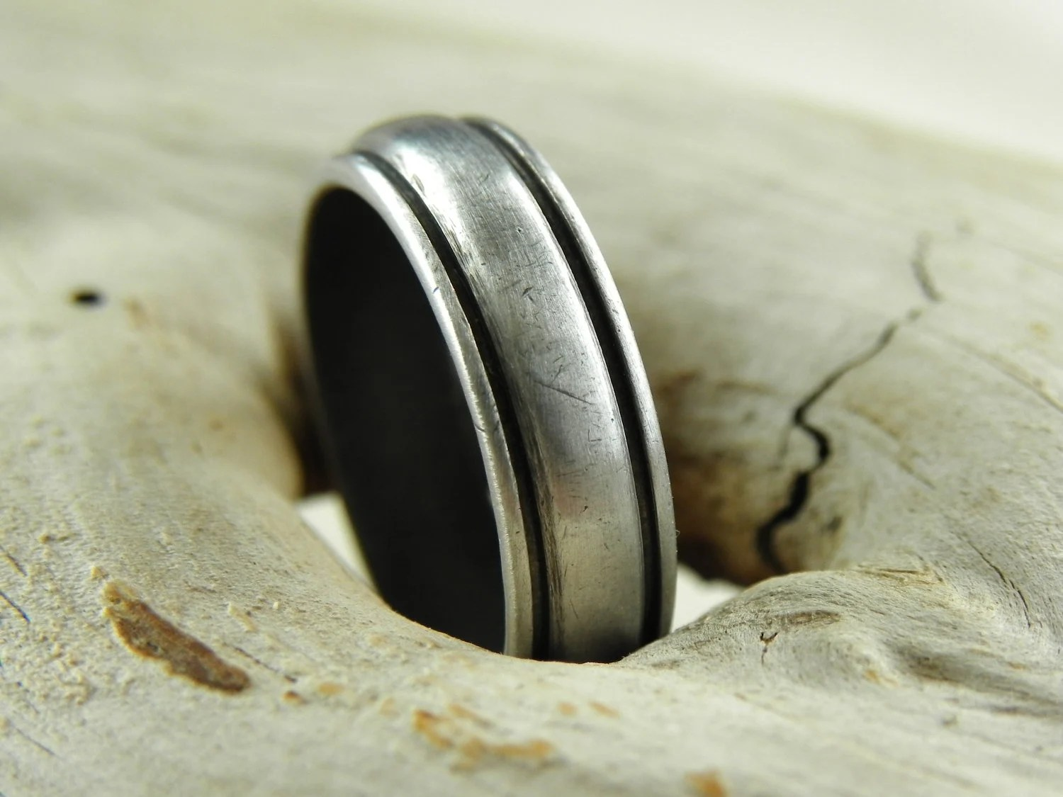 Silver Ring - Grooved Band in Solid Aluminum - Size 8 - Studio70Seven