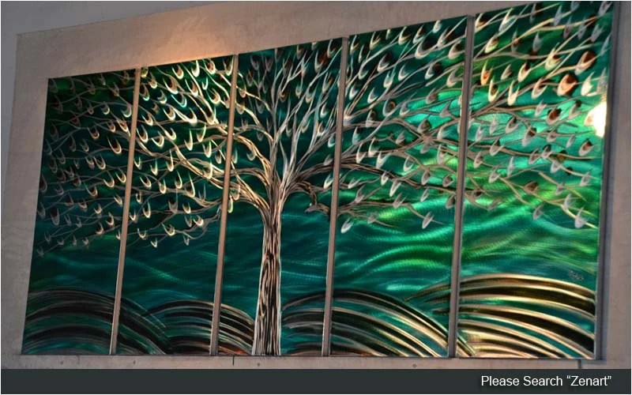 "Original Metal Wall Art Modern Painting Sculpture Indoor Outdoor Decor ""Rich tree"" by Ning"