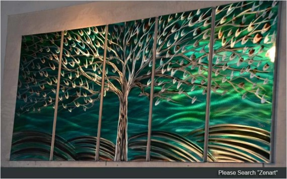"Original Metal Wall Art Modern Painting Sculpture Indoor Outdoor Decor ""Rich tree"" by Ning"