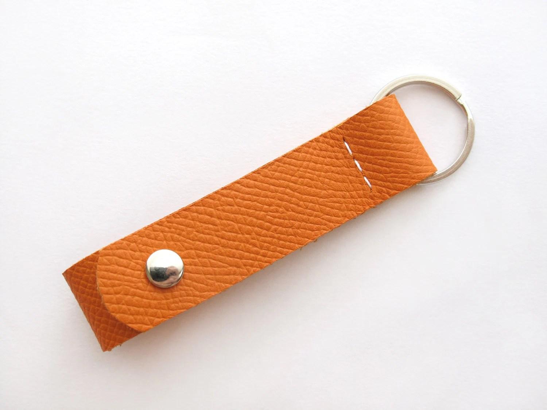 Porte Clé en Cuir Orange