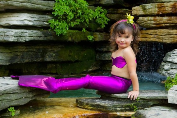 Mermaid Costume - Custom Mermaid Tail for Little Girls size 5-7 pink purple - ApplejackApparel