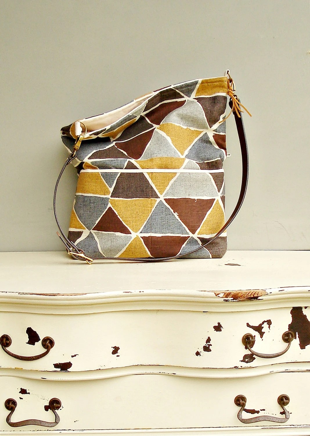 Geometric Triangle Tote Bag -Choose Your Strap - Grey, Brown and Mustard Gold - Messenger Bag - Leather Strap Foldover Hobo Bag -  (no3) - MondayMorningStudios