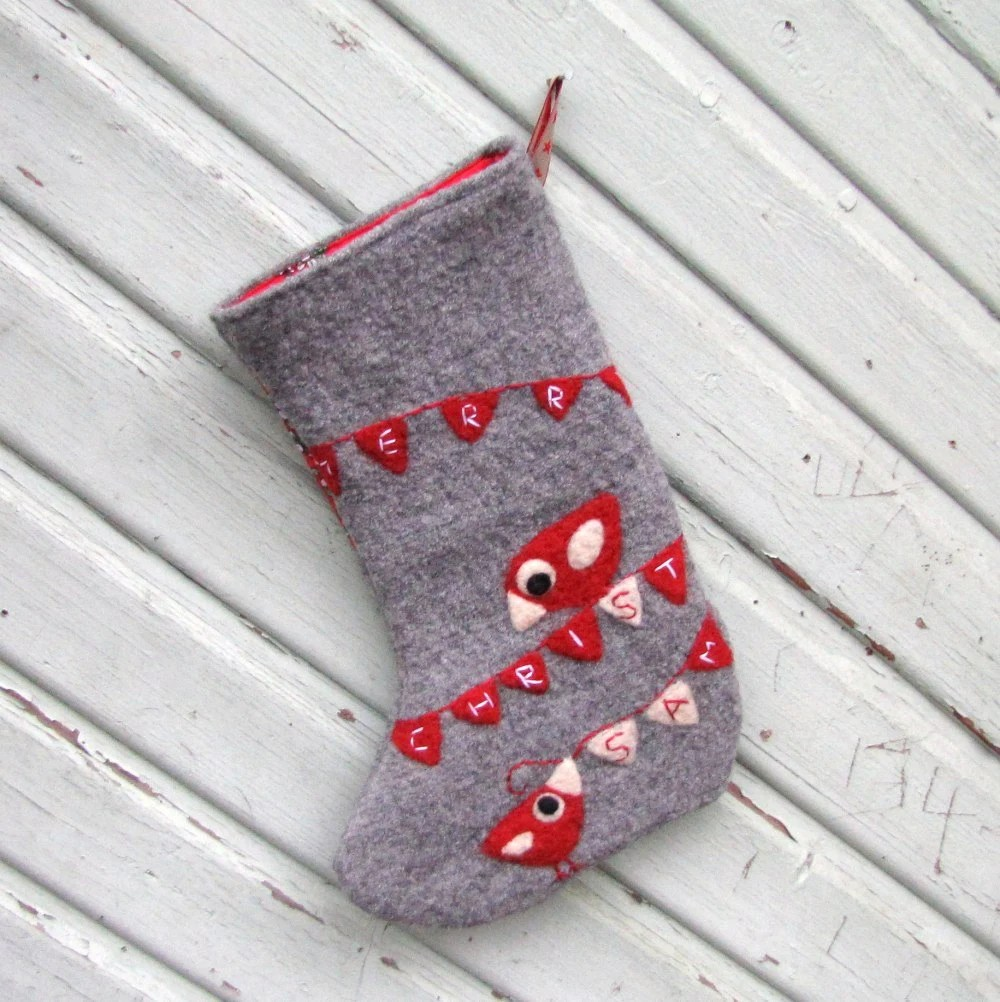 Gray Christmas stocking with needle felted red birdies and Merry Christmas bunting