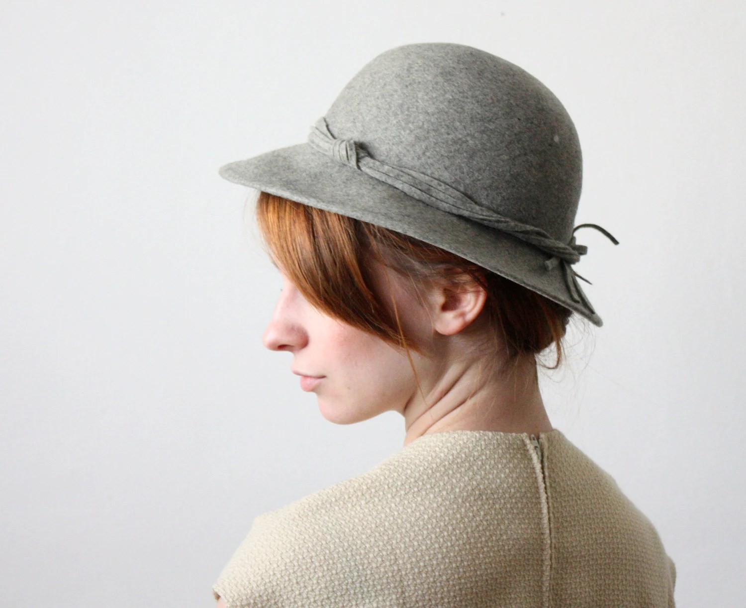 1970's charcoal wool hat - 1919vintage