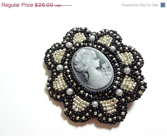 Black Friday SALE Sparkling Black and Silver Hair Clip with Black and Grey Cameo - MegansBeadedDesigns