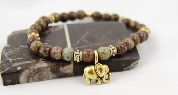 Elephant Bracelet, Green, Gemstone