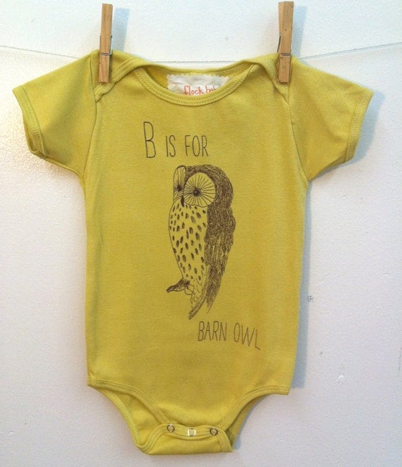 B is for Barn Owl Onsie 6 to 12 months size