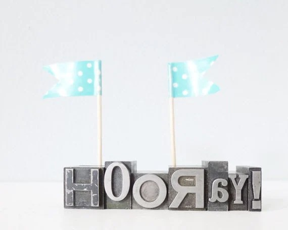 HOORAY word letterpress type metal blocks - romantic happy vintage typography weddin party home decor