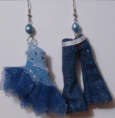 Upcycled Doll Clothing Earrings - Blue Top & Jeans