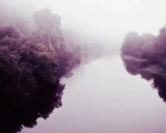 "30% OFF River photography - Plum purple aubergine decor wall art dreamy river landscape Fine Art Photography mist fog winter ""Dream River"" - LupenGrainne"