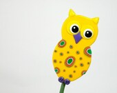 Yellow Owl Garden Stake - Ornament, Table Decorations for Birthday or Shower - ArzuMusa