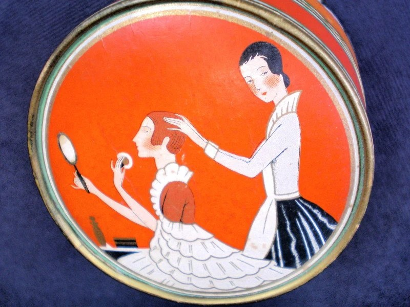 "1920s Face Powder BOX -  ""Three Flowers""  Brand By Designer Richard Hudnut - Vintage / Antique"