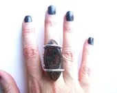 Large One of a Kind Chlorite Mineral Quartz Ring - NakiaDesign