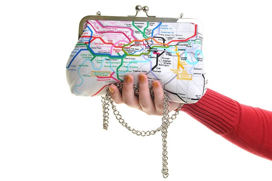 London Tube Map Day Handbag and Clutch In One