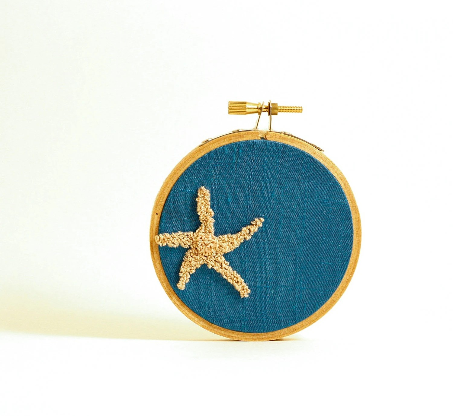 Starfish Punchneedle Embroidery Hoop Art. Light Blue Silk. Nautical Inspired Cottage Decor, Beach House Decor.  3 Inch Size - HarpandThistle