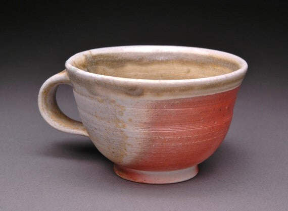 Small Wood Fired Teacup with Ochre Celadon Liner, Beautiful Flashing, and Comfortable Handle