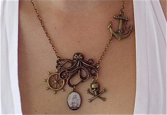 Leviathan - Octopus Necklace - Anchor, Pirate Ship, Helm, Jolly Rodger / Skull and Crossbones - Nautical Charm Necklace Pirate Jewelry - TheLysineContingency