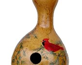 Red Cardinal Painted Gourd Birdhouse by Whatsingramasdrawers on Etsy