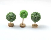 Crochet green Tree  - 3 pcs, Fairy Forest toys for playscape - Dindon