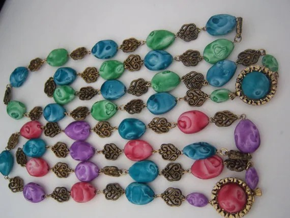 set of 2 marbelized bead necklaces, blue, green, purple and pink