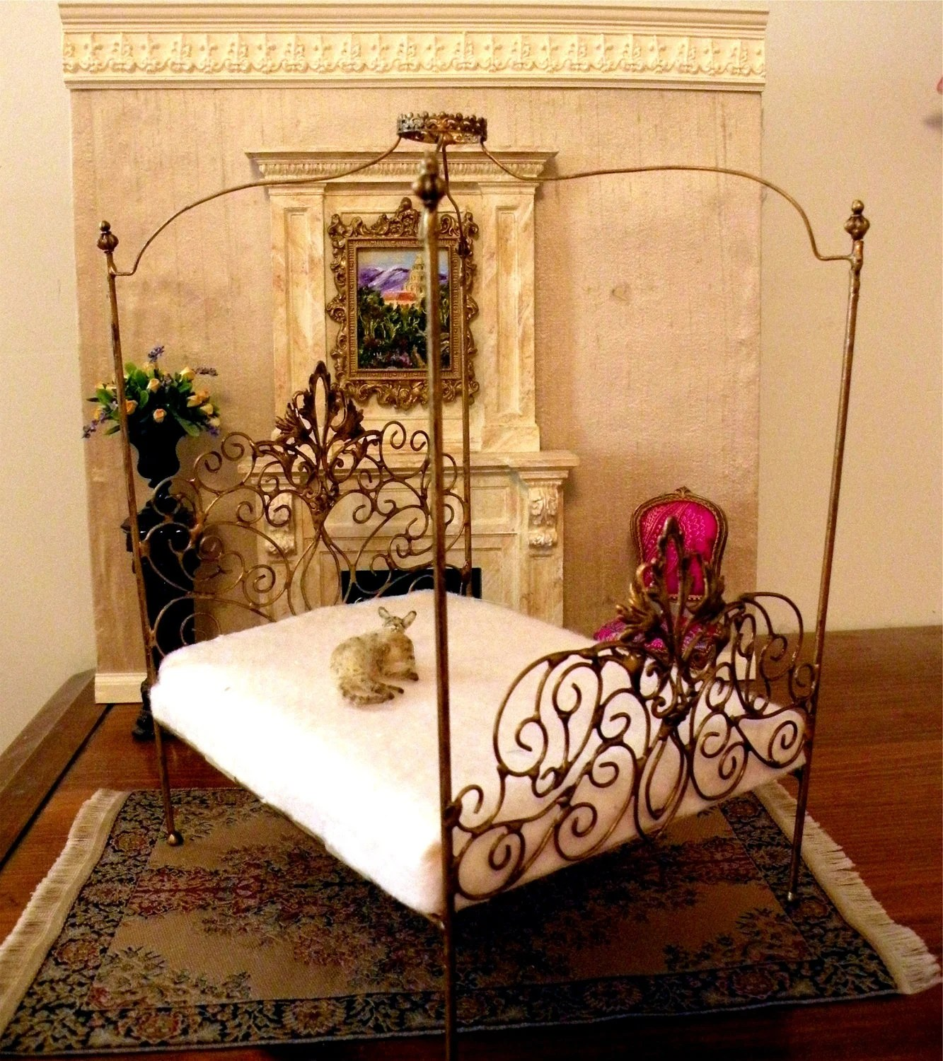 "Dollhouse Miniature 1:12 Scale Artisan Un-dressed Wrought Iron Canopy Bed ""Allegra"""