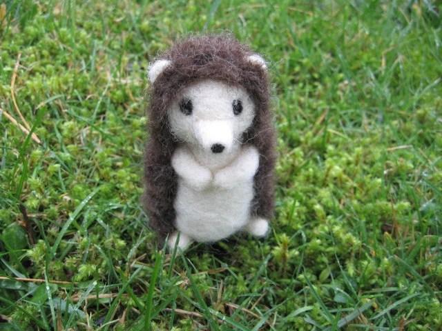 Needle Felted Hedgehog Figure