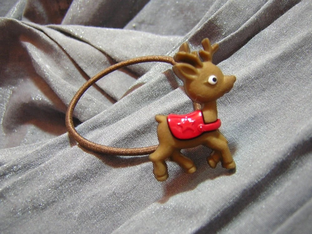 Reindeer Hair Elastic Ponytail Holder - Handmade by Rewondered D202E-00009 - $4.95