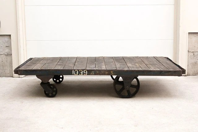 Antique Industrial Nutting Factory Cart Coffee Table - Oiled Top Six Foot Length - HomesteadSeattle