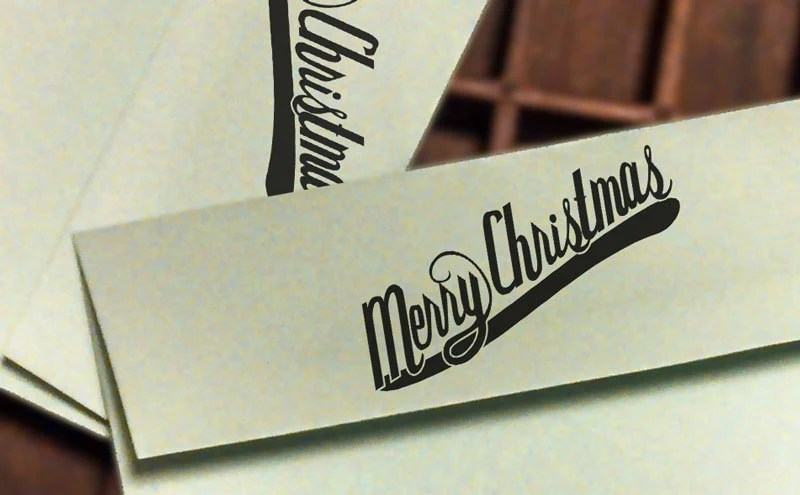 Merry Christmas Rubber Hand Stamp
