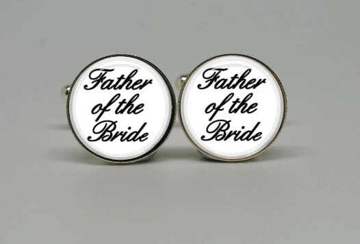 Father of the Bride White White Calligraphy Cufflinks  - Silver Plated Cufflinks Perfect Gift for Your Wedding Day