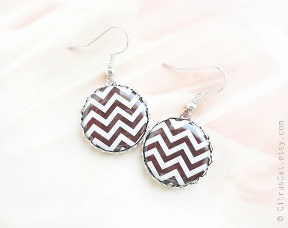 Chocolate brown chevron earrings - CitrusCat
