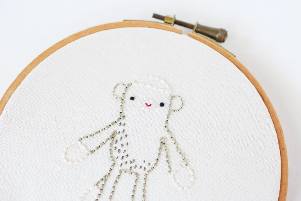 Sock Monkey - Stuffed Toy Embroidery Pattern