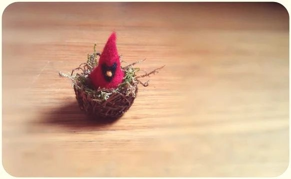 Mini Felted Cardinal In Nest - gotcrowcreations